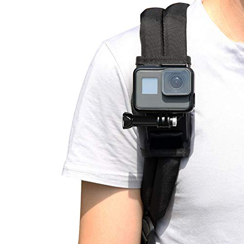 LiDCH Backpack Shoulder Strap Mount Compatible with GoPro Hero 9 8 7 6 5 4 3, AKASO OSMO Insta 360,Action Camera 360 Rotation Adjustable Chest Pad Clip for Climbing Walking Cycling Travel on foot
