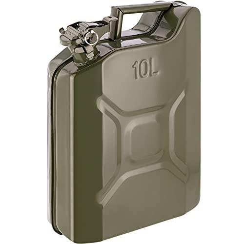 PrimeMatik - Bidón metálico para Gasolina o diésel 10 L Verde