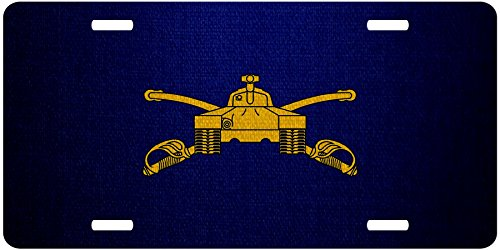 ExpressItBest Premium Aluminum License Plate - U.S. Army Armor, Branch Insignia