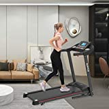 Electric Folding Treadmill for Home, Smart Motorized Treadmill with Manual Incline and Air Spring & MP3, Exercise Running Machine with 5' LCD Display for Home Use