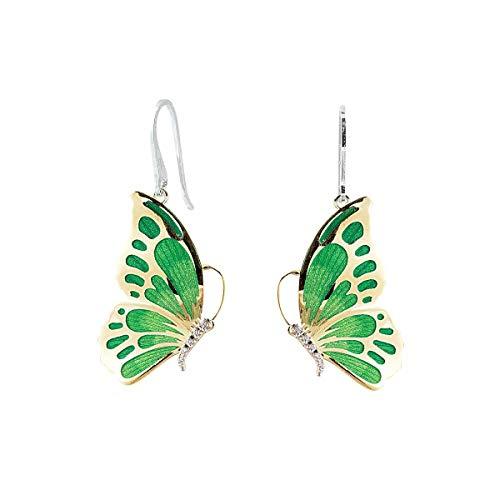 Pendientes de mariposa de plata 925 con anzuelo, rodiados y dorados, esmalte verde y circonita