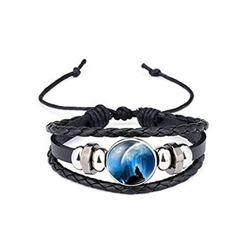 Youkeshan Pulsera de cuero con cabujón de cristal de lobo aullando pulseras trenzadas multicapa para mujeres y hombres