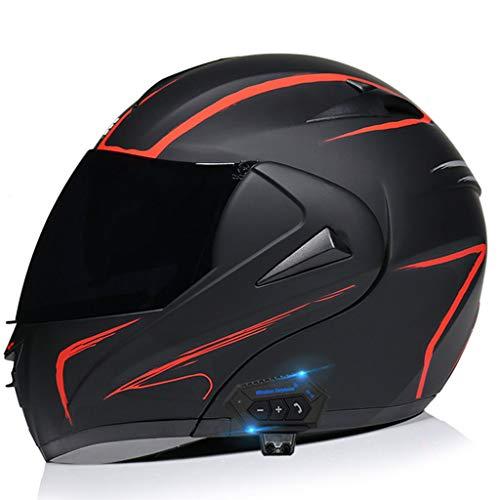 DCLINA Casco Cara Completa Modular de Motos, Bluetooth Integrado Casco de Motocicleta ECE Homologado para Scooter Electrico Bicicleta Chopper con Doble Visera, Mujer y Hombre Motocross Casco