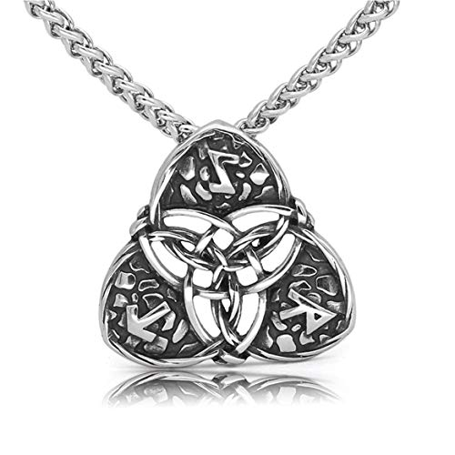 CANNE Norse Viking Stainless Steel Pendant Necklace Celtic Pagan Amulet Necklace Jewelry for Men Women (Celtic Knot)