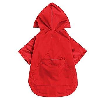 Manteau imperméable élégant pour chien - Jaune avec fermeture éclair avec boutons réfléchissants, poches, résistant à la pluie et à l'eau, cordon de serrage réglable - Rouge - L