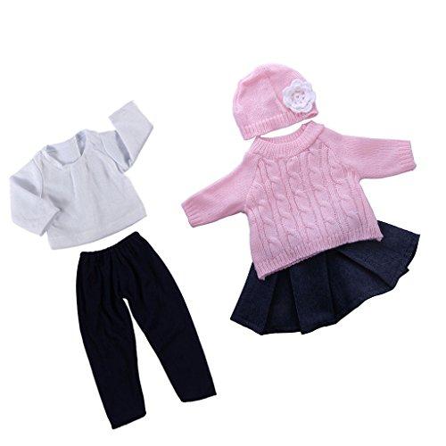 2 Sätze Modische Puppenkleidung Bekleidung Für 18 Zoll Puppe - Schwarz & Weiß & Rosa