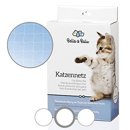 Bella & Balu Katzennetz inkl. Haken, Dübel, Rundumseil und Anleitung – Transparentes Schutznetz für Katzen zur Absicherung von Balkon, Terrasse, Fenster und Türen (transparent   8 x 3 m)