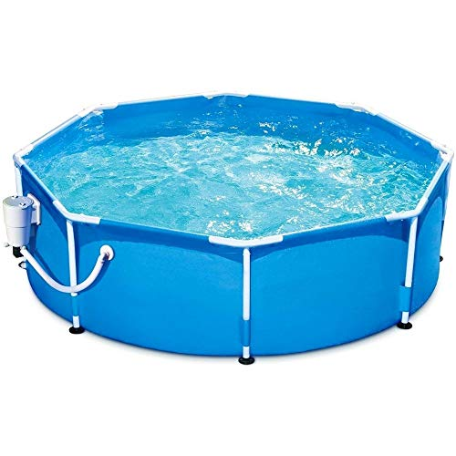 Above Ground Pool with Pump 8 Foot Round Swimming Pool Durable Filter Pump Metal Frame Best Above Ground Pool Summer for Kids and Adults Swim Center Easy Setup Blue & eBook by NAKSHOP