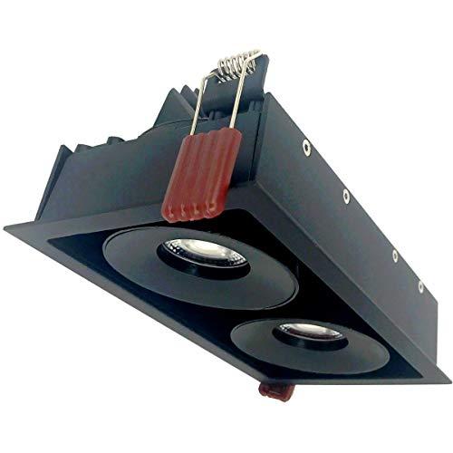 Spot LED Dimmable Encastrable Double 2x9W Noir Rectangle - Blanc Neutre 4000K - 5500K - SILAMP