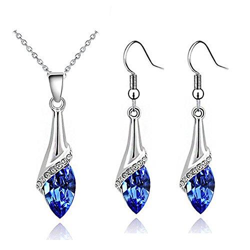 Klaritta Elegant Silver Dark Blue Crystal Eye Jewellery Set Drop Earrings & Necklace S862