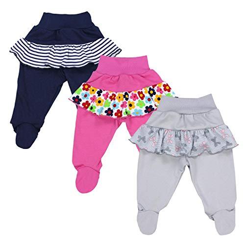 TupTam Pantalón con Pies de Bebé para Niña, Pack de 3, Mix de Colores 2, 74