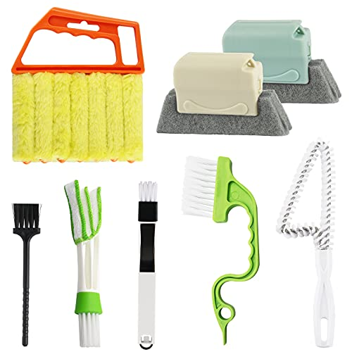 Groove Gap Cleaning Tools, 8 Pack Hand-held Window Door Track Cleaning Brush, Window Blind Duster Brush, Windowsill Sweeper Crevice Cleaning Tool for Shutters, Air Conditioner, Car Vents, Keyboard