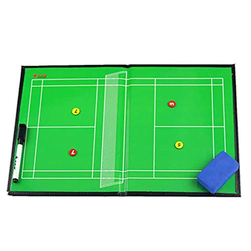 Boards Coaches Badminton Coach Tactic, Leather Magnetic Tactic Foldable Strategy Coaching Clipboard, with Marker Pieces, Pen and Eraser (42cm X 27cm)