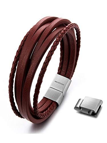 SMARTEON | Premium Echtlederarmband für Männer in schwarz & braun | Verschiedene Längen | Magnetverschluss aus Edelstahl | Exklusive Schmuckschachtel (Braunes Leder/Edelstahl silber, 19.00)