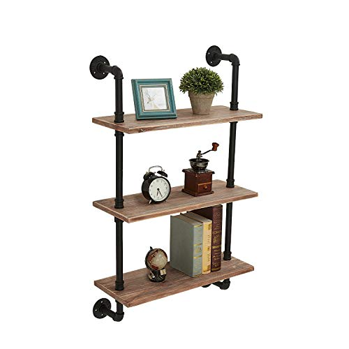 ROGMARS Industrial Pipe Shelves with Wood 3 Tier,Industrial Pipe Shelving 24 Inch, Rustic Iron Pipe Shelves for Book, Industrial Wall Shelf for Bathroom (Brown Board)
