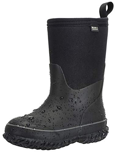 MCIKCC Kids Waterproof Rain Boots,High Snow Boots for Toddler Boys Girls,Textile Rubber Sole,10M Black