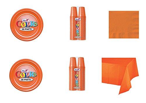 CDC - Kit n°7 Coordinato Monocolore Arancione da tavola per Festa e Party ed Ogni ricorrenza - (30 Piatti, 100 Bicchieri, 50 tovaglioli,1 Tovaglia)