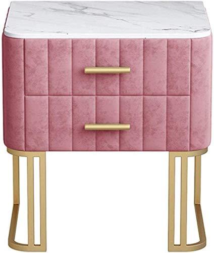 HTL Mesa de noche de mesita de noche, gabinete de alenamiento de montaje de muebles de alojamiento de dos cajones, mesa lateral de sala de estar de dormitorio,H