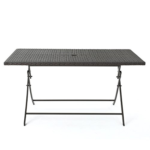 Christopher Knight Home Riad Outdoor Wicker Rectangular Foldable Dining Table, Multibrown