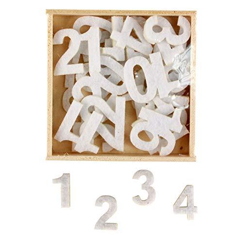 MegaCrea DIY Zahlen Filz weiß zum Aufkleben 2,5cm x 24 Stk. für Kalender