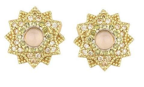 Pendientes boton forma flor, plata chapada y cuarzo rosa