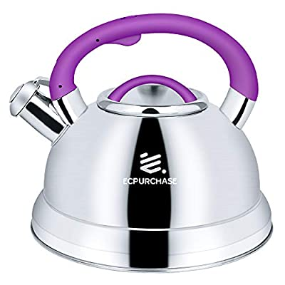 Tea Kettles Stovetop, Tea Pots for Stove Top, Food Grade Stainless Steel Whistling Tea Kettle for Boiling Water and Coffee, 3.2Qt(3-Liter) Capacity Teapots with Flip-Up Spout Cover by ECPURCHASE