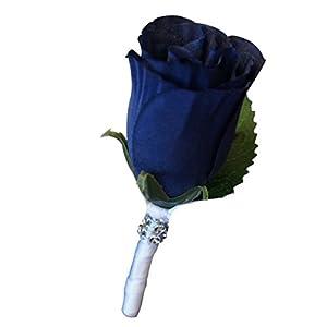 Silk Flower Arrangements Angel Isabella, LLC Build Your Wedding Package - Navy Blue and White Keepsake Artificial Flowers Bouquet Corsage Boutonniere (Boutonniere B)