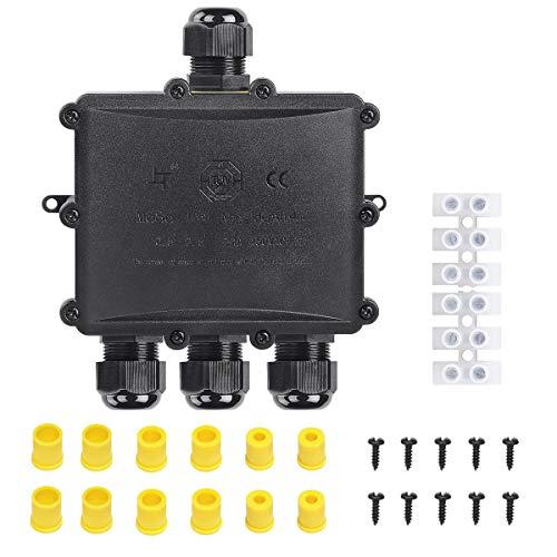 SanGlory Scatola di Giunzione 4 Vie IP68 Impermeabile, Connettori Cavo Scatola Esterni Scatole di Derivazione per Esterno Pressacavo M25 per Cavo Ø 4mm-14mm