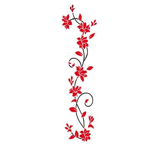 Acrylique Fleur Stickers Muraux Affiche Nouvel An Décorations Autocollants Amovibles pour Cuisine DIY Wall Stickers, 24x80 cm, rouge