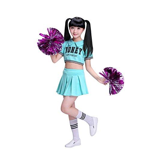 G-Kids Disfraz de animadora para mujer y niña, uniforme, carnaval, fiesta, Halloween, Navidad, disfraz de animadora, ropa con 2 pompones y calcetines azul 130/140 cm
