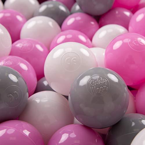 KiddyMoon 50 ∅ 7Cm Balles Colorées Plastique pour Piscine Enfant Bébé Fabriqué en EU, Gris/Blanc/Rose