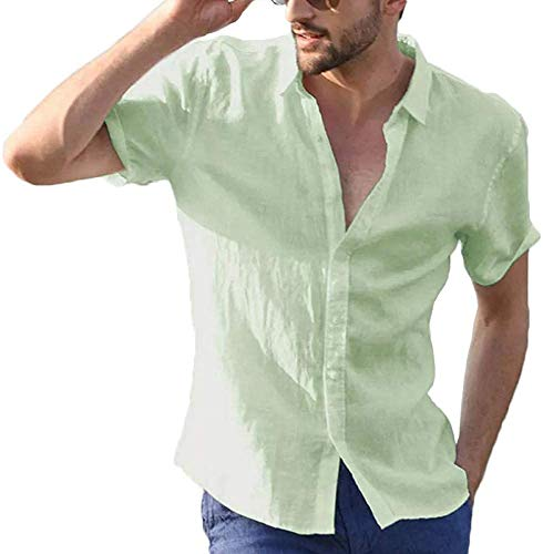 Carolilly Camisa de hombre de manga corta de lino de algodón con...