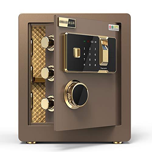Caja Fuerte de Seguridad,36x30x40cm Reconocimiento de Huellas Dactilares Electrónica de Caja de Seguridad, Oficina de Hotel Joyas Comerciales Uso de Efectivo Almacenamiento,brown