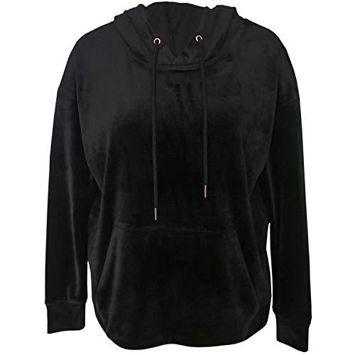 Green Tea Women's Velvet Velour Pullover Hoodie Jacket (Black, XX-Large XXL)