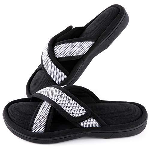 ULTRAIDEAS Women's Memory Foam Slide Slippers, Slip-on Open Toe Cross Brand House Shoes with Anti-Skid Rubber Sole, White, Size 8-9