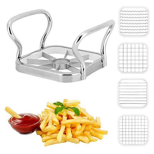 5 in 1 Potatoes Cutter with Thickened Sharp Blade Stainless Steel Potatoes Fruit Vegetable Cutter Chipper Cutter