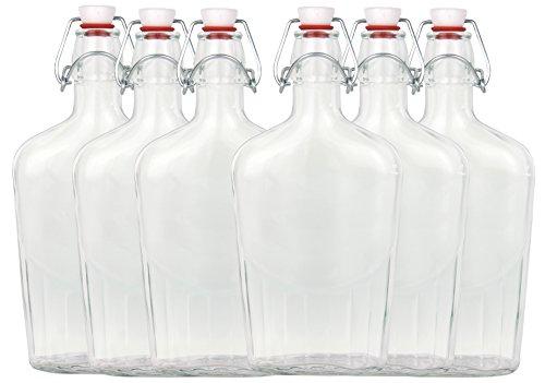 Set di 6 bottiglie di vetro, fiaschetta, con chiusura a leva, 0,5 litri