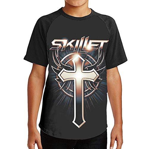 Kurzarmshirt Sweatshirts Tops, Jugend Teen Boys Skillet Band Logo Merch T-Shirt für Teenager Schwarze T-Shirts Lässige Kurzarm T-Shirt mit Rundhalsausschnitt