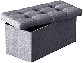Cuyoca 30 inch Ottoman Storage Beach Foldable Seat Footrest Shoe Bench End of Bed Storage, 80L Storage Space, Linen Fabric Grey