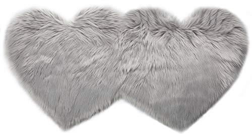 Capslpad Faux Fur Sheepskin Rug Double Heart Shape Soft Long Pile Fluffy Rug Washable Plush Area Rugs for Bedroom Living Room Dressing Room Office Chair Cover Sofa Floor (70cm x130cm-Grey)