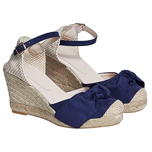 NO ES LO Mismo| Sandalias | Alpargatas De Yute con Cuña Mujer | Nueva Colección Primavera/Verano 2021 | Zapatos con Plataforma para Mujer | Fabricado en España