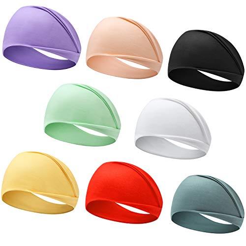 Headbands for Women, Boho Style Yoga Elastic Wide Hair Band 8 Pack (Style-1 (8-Pack))