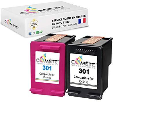 COMETE 301 Pack de Cartouche Compatible HP 301 CH562EE Couleur Encre pour Imprimante pour HP Officejet Envy Deskjet (Pack Noir+Couleur)