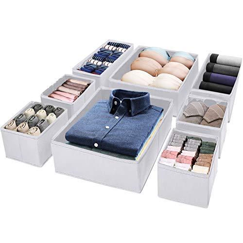 Puricon (8Stück Aufbewahrungsbox Stoffbox Stoff Set Faltbox für Schubladen Schrank Tische Ordnungssystem, Faltbar Unterwäsche Socken Schals Krawatten Organizer Drawer Divider Cubes Container –Weiß