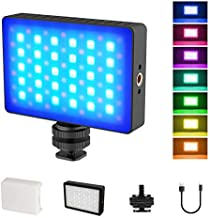 RGB LED Video Light, On Camera Video Light for Filming, Built in Rechargeable 3000mAh Battery LED Video Camera Lighting Portable Mini Pocket Light for Camera, Photography, YouTube, Home Studio,Vlog