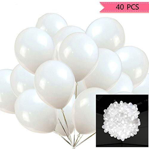 40pcs LED Light Up White Balloons by ALUNME Non Flashing Party Wedding Balloon Lights Long Standby Time for Dark Party Supplies,Wedding Decorates