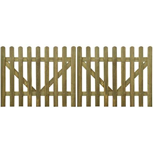 vidaXL 2x Cancello Recinto Steccato 300x120cm Legno FSC Staccionata Recinzione