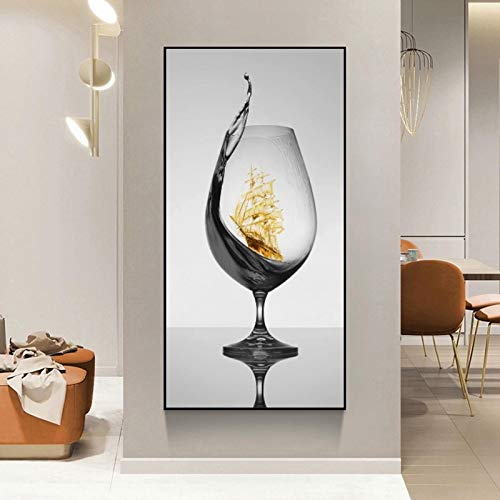 zxiany Pintura sobre Lienzo Moderna Copa de Vino romántica con velero Lienzo Abstracto Imagen de la Pared para la galería Comedor Bar Decoración para el hogar Póster 70x140cm Sin Marco