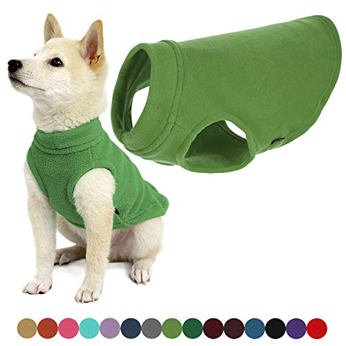 Gooby Stretch Fleece Dog Vest - Grass Green, Small - Pullover Fleece Dog Sweater - Warm Dog Jacket Dog Clothes Sweater Vest - Dog Sweaters for Small Dogs to Large Dogs for Indoor and Outdoor Use