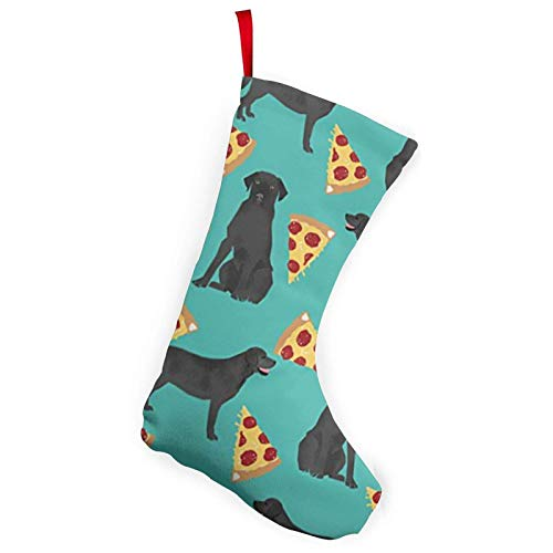 XCNGG Calcetines navideños Calcetines novedosos Dog Black Lab Pizza Christmas Stockings 10 inches Christmas Decorations and Party Accessory Xmas Fireplace Hanging Stockings